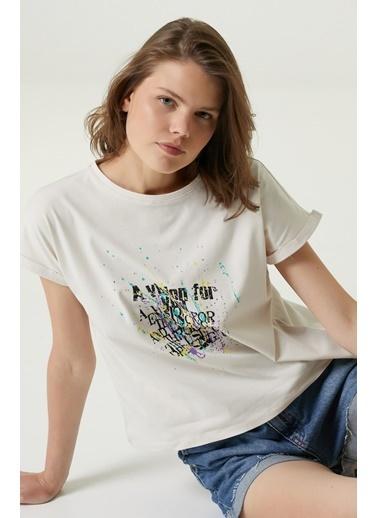 NetWork Network 1079951 Yazı Baskılı Bisiklet Yaka Pamuklu Taş  Kadın Tshirt Taş